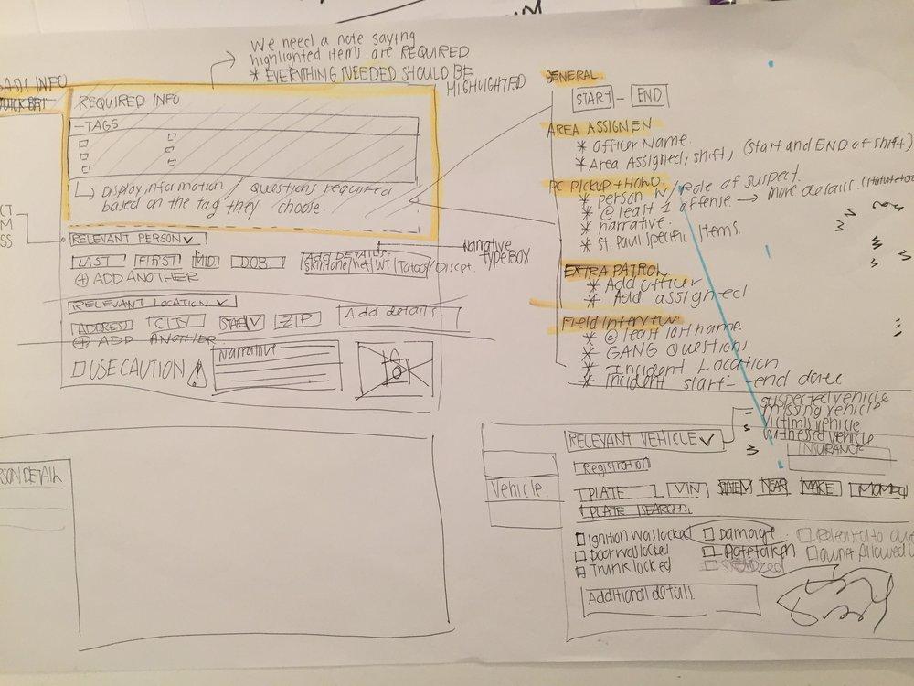 Low fidelity wireframe sketches.