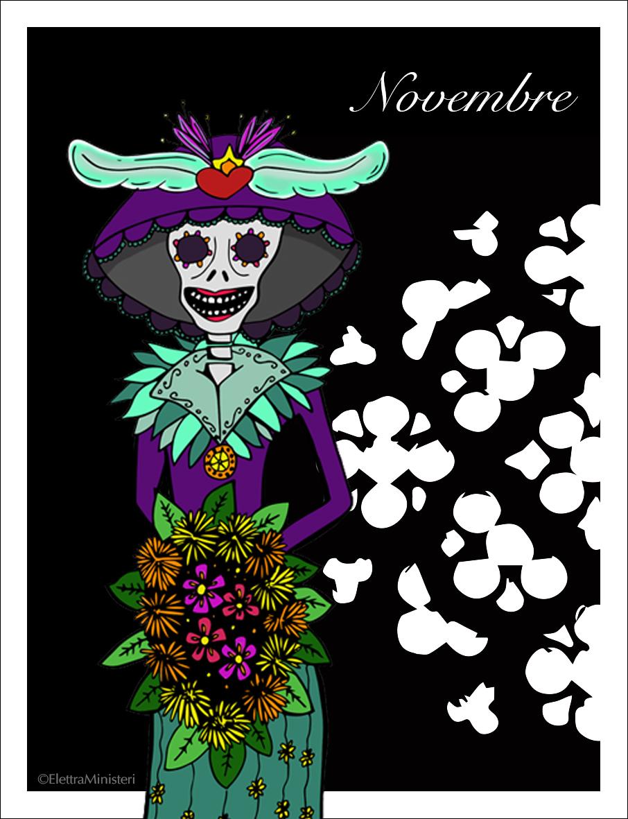 Scrivo una cartolina - E' un progetto con cadenza mensile a cui mi dedicherò da Settembre 2017 fino ad Agosto 2018.Il mio lavoro sarà di realizzare un'illustrazione per ogni mese dell'anno, che rilascerò gratuitamente.Il personaggio che ho scelto per il mese di Novembre è la Catrina, simbolo della cultura del Messico e personaggio centrale nei festeggiamenti del Dìa de Muertos.Scarica qui