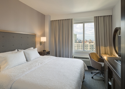Hampton Inn Times square  337 W 39th street  212-967-2344   Book rooms at 15% off best available rates!