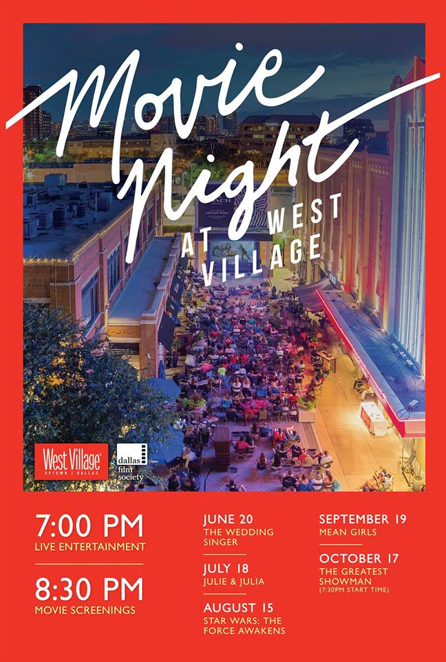 The wildly popular West Village Movie Night is back, with outdoor screenings of family friendly flicks for the best possible price: zero dollars.  Every third Wednesday night, grab some folding chairs or a blanket and head to the stretch between  Mi Cocina  and the  Landmark's Magnolia Theatre . There you can buy some snacks or even a to-go meal from West Village's array of restaurants, or sip a glass of wine from  CRÚ Food & Wine Bar - West Village  or a Mambo Taxi from Mi Cocina.  Come early, and you might be lucky enough to snag a patio table at  Taco Diner ,  CRÚ Food & Wine Bar - West Village ,  MidiCi The Neapolitan Pizza Company , or Mi Cocina.  Each movie starts at 8:30 pm, with the exception of The Greatest Showman, which begins at 7:30 pm. But before the opening sequences appear, live musicians, and DJs are performing starting at 7 pm.