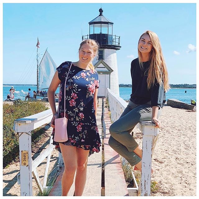 Nantucket has a style of its own from floral dresses to striped shirts to rolled up pants to walk along the beach...so what should you pack and for what activities?! - Well for us living in Dallas, we dropped by @shopsaintbernard in Inwood Village to pick up some great preppy and beach pieces, including the outfits we are wearing. They also have tons of swimsuits and beach accessories too in the summer! - We went in September though when it rained quite a bit, so make sure to bring a rain jacket with you if you're going during the off season too! - You could also come really prepared to fit in with everyone around you by ordering all the @lillypulitzer and @vineyardvines! Or shop at the preppy boutiques while on the island! - As for shoes, don't bring anything with a heel, unless you have really good balance! Nanatucket is old school when it comes to roads. The cobblestones are aesthetically pleasing, but not the easiest to walk on. And the cobblestone is everywhere! - At night, it gets chilly, even in the summer because of the ocean breeze so definitely always have a jacket or sweater on hand! - Lastly, don't forget a swimsuit!! - And if you're wondering what to add to your suitcase when coming home, there's tons of tourist shops near the wharf that sell Nantucket gear, including the super popular crew neck sweatshirts with NANTUCKET in bold letters. Or head to @ciscobrewers and grab a shirt there to tell the world you went!