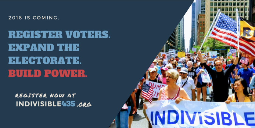 "Twitter-sized graphic that says, ""Register Voters. Expand the electorate. Build power. Register now at indivisible435.org"" with a photo of a group of people holding an Indivisible banner marching at a protest."