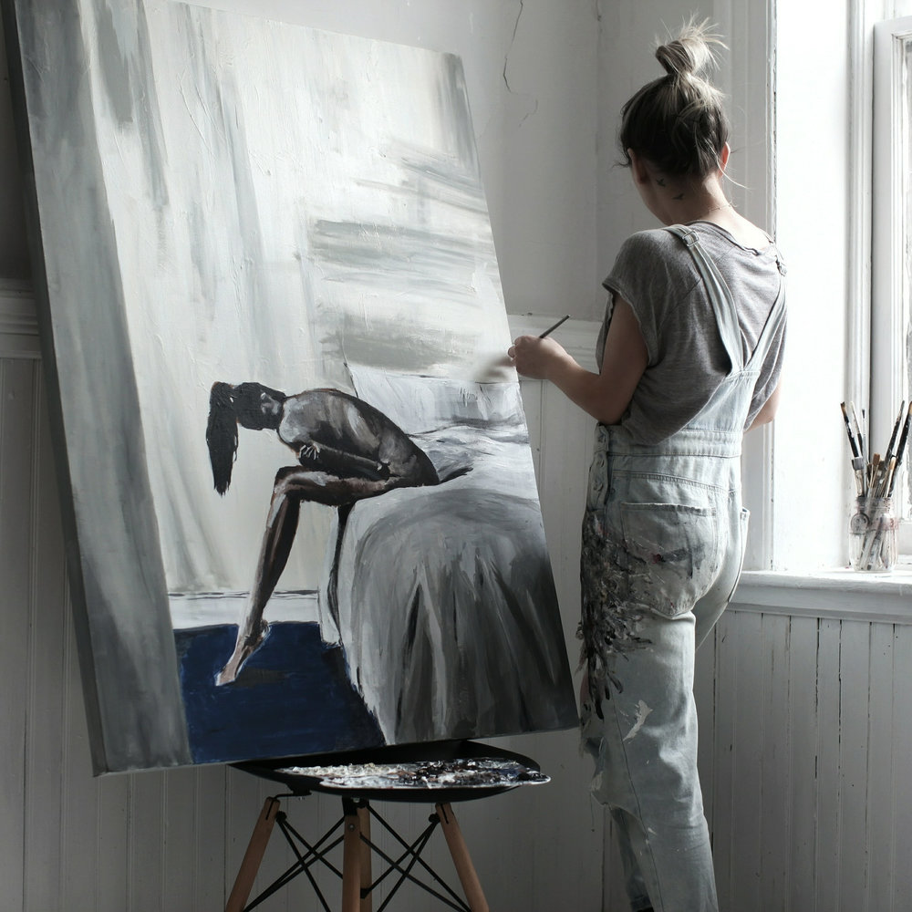 Self portrait by Megan McCluer, 3ftx4ft acrylic on canvas