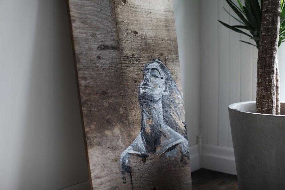 Lea, 23x48 acrylic on wood