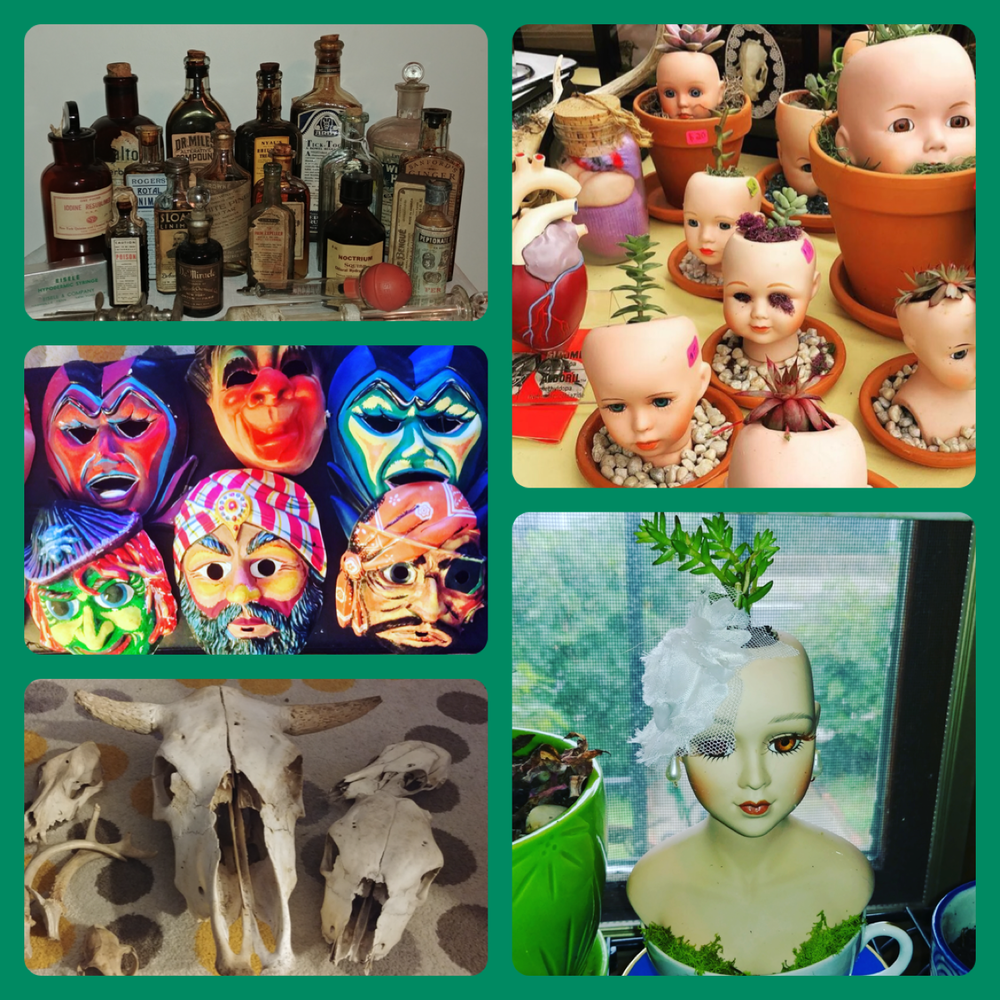 Candy's Curiosities & Vintage - Candy's Curiosities & Vintage makes baby doll head planters and eclectic hair accessories. They also sell pop culture vintage & oddities that will make perfect gifts for loved ones or for yourself!