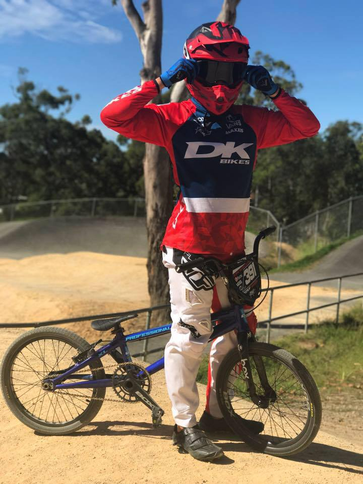 Name: Kyle hill Hometown: Perth, WA Currently Residing: Gold Coast, QLD Years Riding: 5 Hobbies outside BMX: going to the beach  Current DK Setup: DK professional V2 in blue all box components with maxxis tires. One thing you can't live without (besides your bike): chicken parmigiana  Favourite place to travel: USA First memory of BMX: Halloween night at my first club race Favourite Quote/Words to Live By: believe and you'll achieve