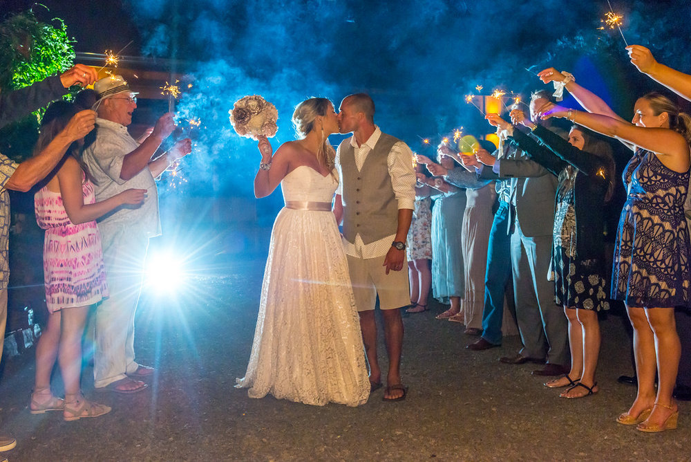 Wes Fisher photography wedding reception Eugene Oregon sparklers