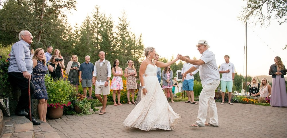 Wes Fisher Photography father daughter dance on patio outdoor wedding Eugene Bend Oregon