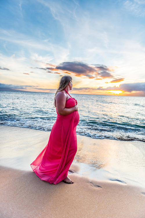 wes fisher photography - maternity 2 - woman in red on beach.jpg