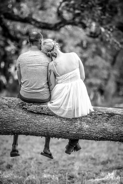Wes Fisher Photography - Engagement - couple sitting on tree.jpg