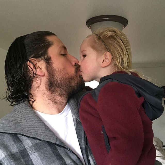 Father and son matching hair