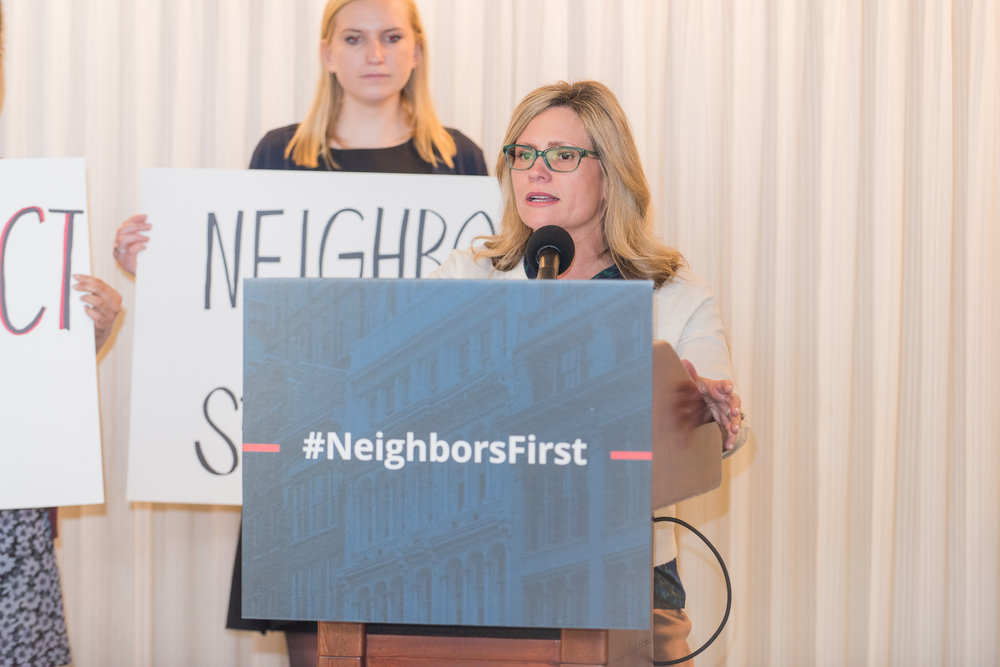 SCP President Stacie Rumenap at #NeighborsFirst press conference in Washington, DC