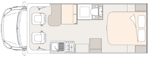 Unicampa 720 Rear Island Bed layout.