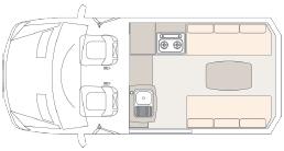 UniCampa Pop-top Campervan floorplan