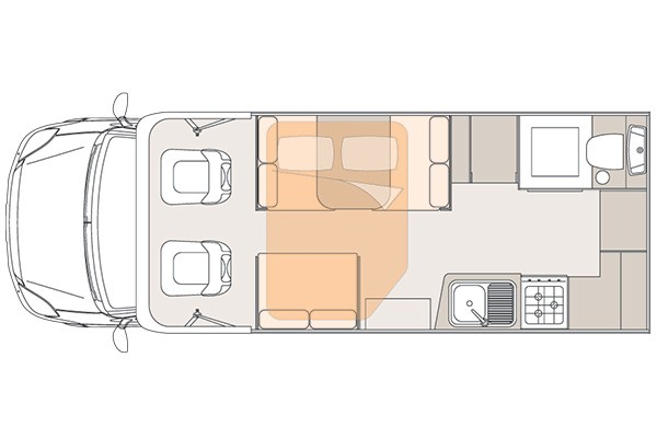 Unicampa 630 Front Drop Bed layout