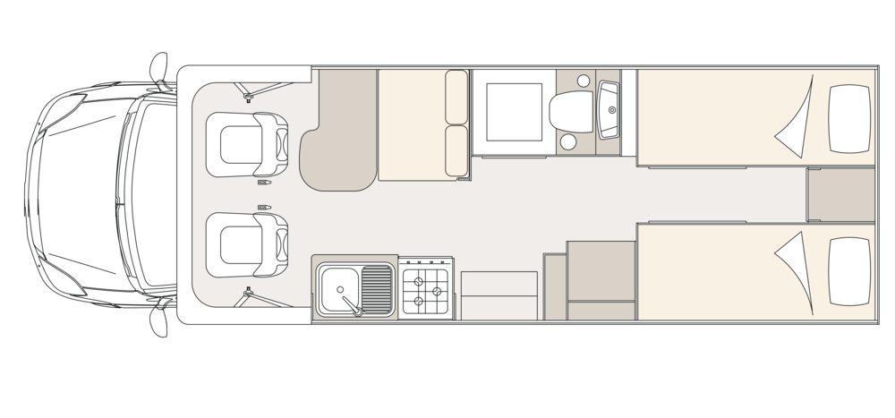 UniCampa 720 Rear Twin Beds