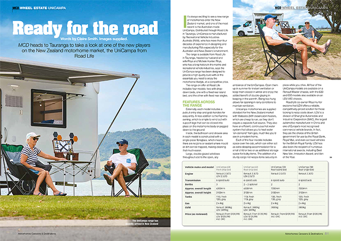 - CHECK US OUT IN THE MOTORHOMES, CARAVANS AND DESTINATIONS MAGAZINE.