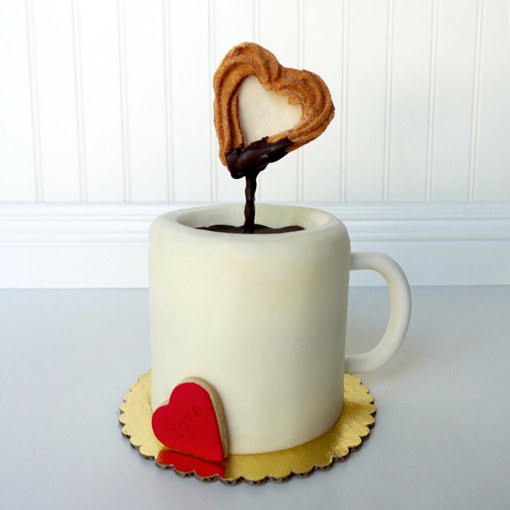 "$55 - Mug Cake with ""Churro"" sugar cookie (serves 8-10) Vanilla Cake with Cinnamon Sugar buttercream"