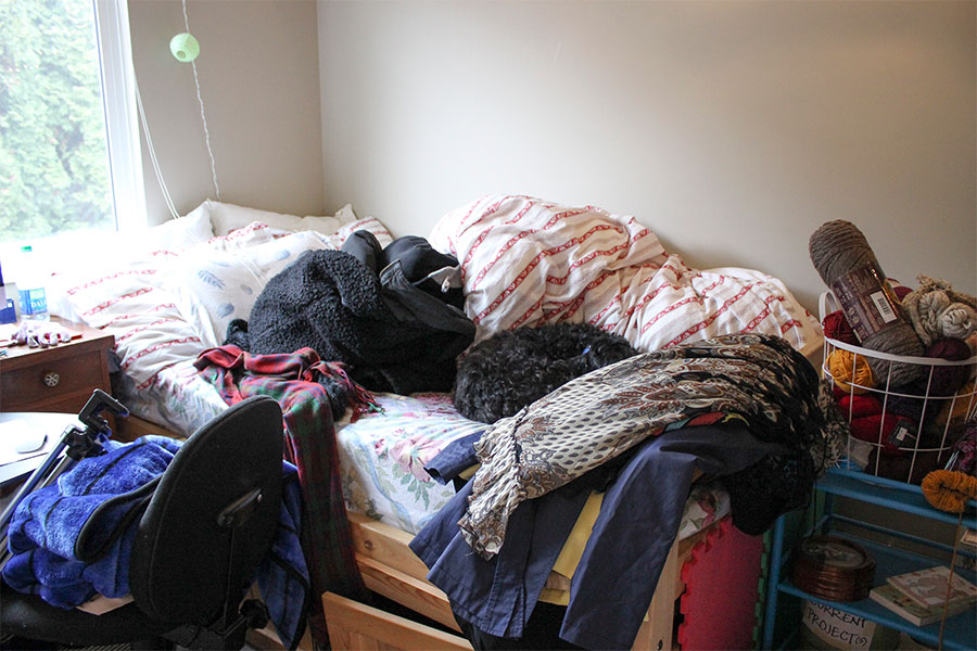The perils of taking all these pictures - mountains of clothes threatening to swallow up a sleeping puppy.