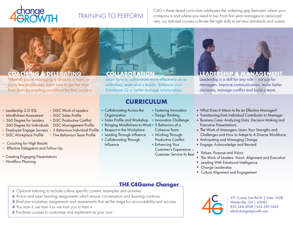 Download our Curriculum - We can customize any of these offerings.