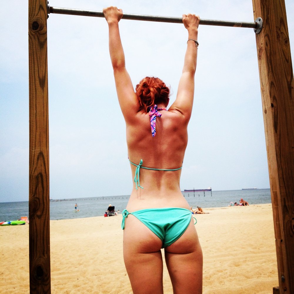 No judgements here, just comments about my back definition–guess sand makes it okay.