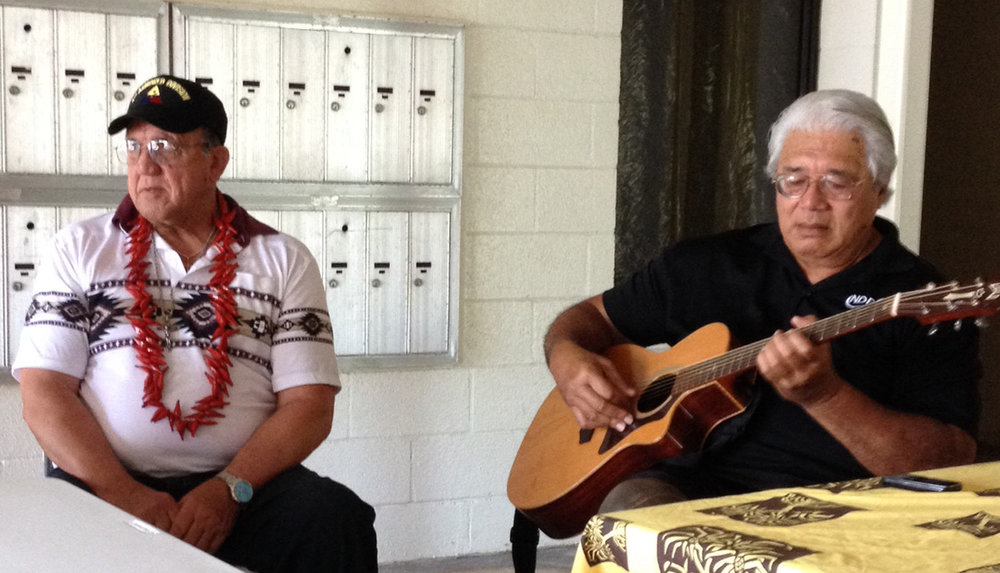Making music Dr. Tusi and Chief Albert ~ Hawaii meetings, July 2014.