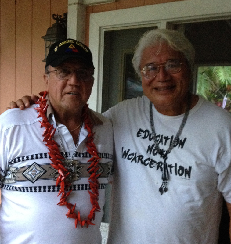 Dr. Tusi Avegalio and Chief Albert, Hawaii, hosting the Peace Ship.