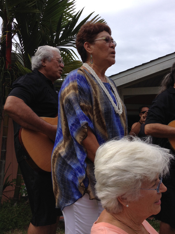 Traditional welcome – Dr. Tusi, Dr. Fran Park, Kalani Souza Hawaii July 2014.