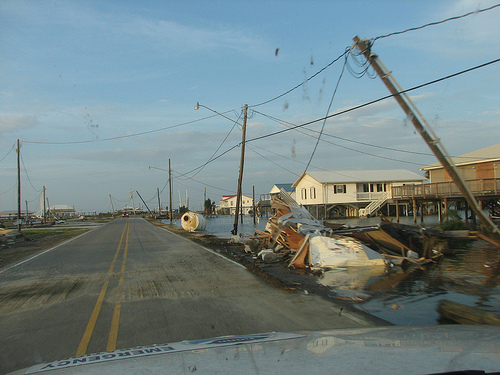 Storm damage in Grand Isle in 2008