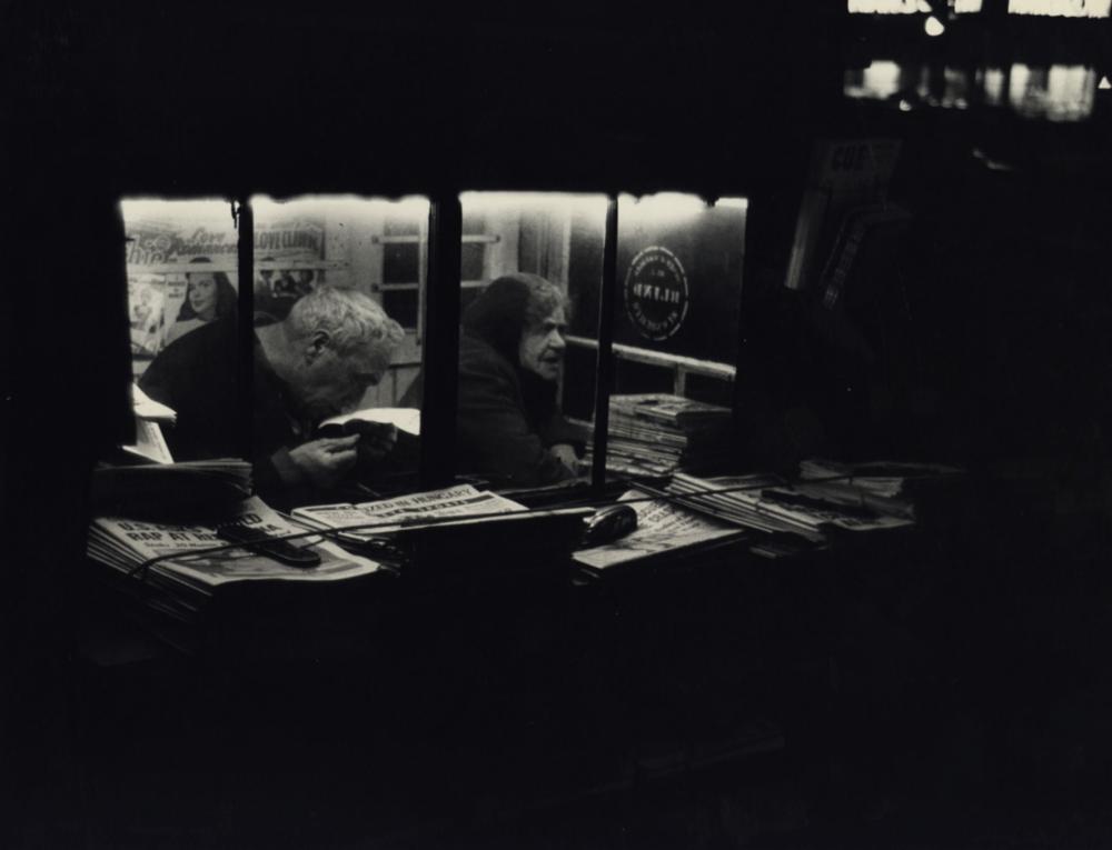 Dan Weiner, Newsstand,  1950  Image courtesy of stevenkasher.com  Exhibition Dan Weiner: Vintage New York, 1940- 1959 on view at Steven Kasher Gallery