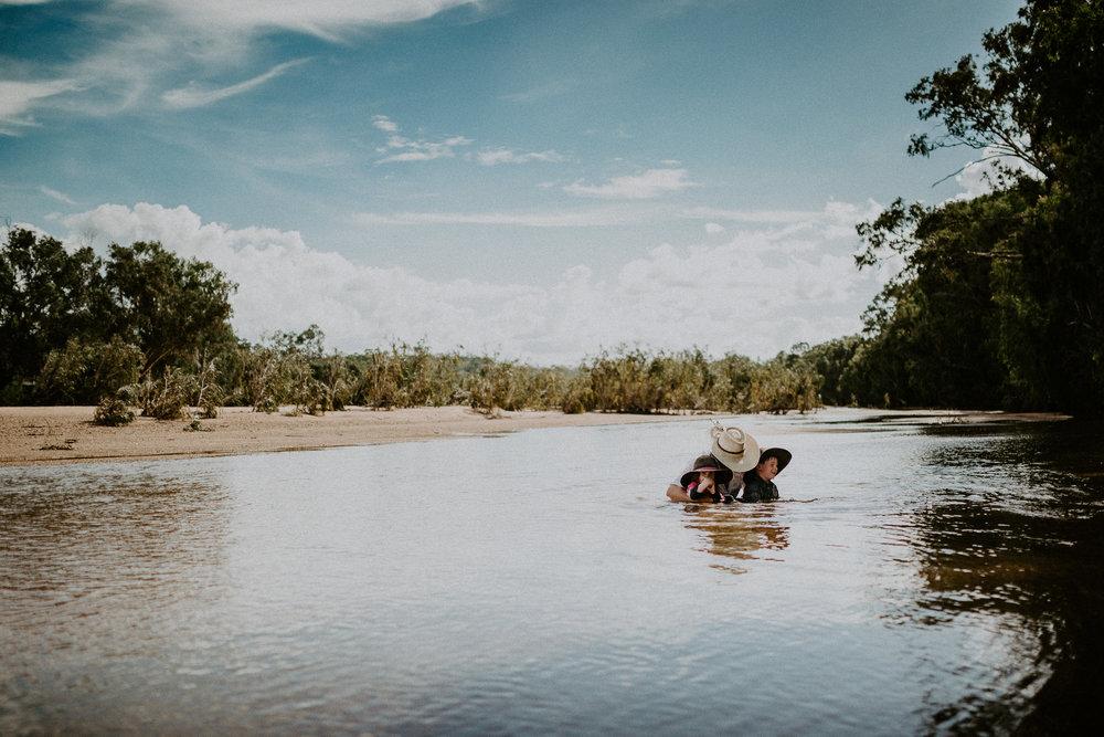 Swimming with Granni down the river