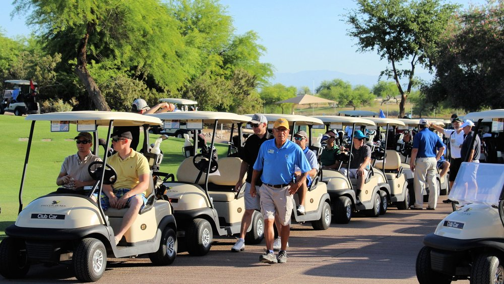 Golfers ready to roll at Falcon Dunes Golf Course on May 12, 2017