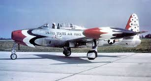 The F-84 was the first aircraft flown by the  U.S. Air Force Thunderbirds , which operated F-84G Thunderjets from 1953 to 1955