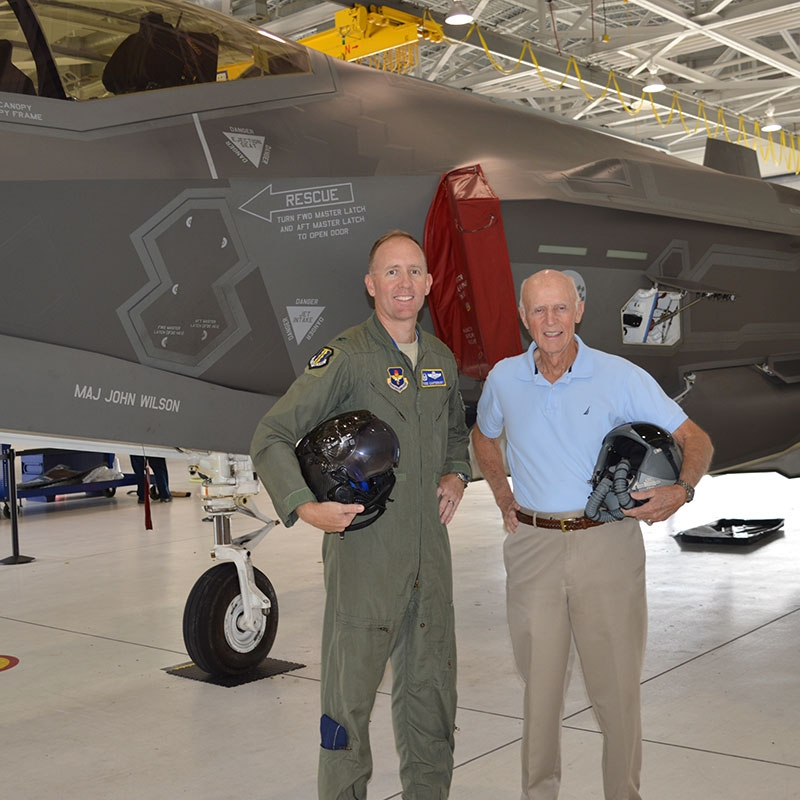 "Father and son, Brigadier General Todd ""Tales"" Canterbury, then Colonel, shares his passion for flying with his father and mentor retired Major General Henry ""Hank"" Canterbury."