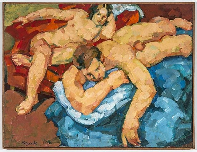 """Rosemarie Beck, """"Lovers,"""" 1969, oil on linen, 20x26 inches ©The Rosemarie Beck Foundation #rosemariebeck #newyorkschool #figuration #lovers #figurative #painting"""