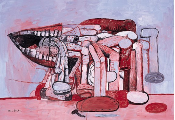 """One day [Guston] presented his little daughter to us early Halloween morning before he was to drive her to the school party. The evening before had been riotously spent inventing a witch's costume consisting of a marvelously illuminated sheet with figures and imagery, a fabulous hat and a carved jack-o-lantern carved in the shape of a cat. I've never forgotten the sensuality, the rightness, of that carving. Well, Philip spent a restless day waiting for Ingie to come home from school. She was…a little crestfallen. The boy whose mother had bought a skeleton costume from the five and dime won the prize. No matter. Philip was rehearsing, probably unbeknownst to himself, his future imagery and iconography later to surface in the rich forms we know in his last work."" Excerpt of ""Letter to L."" From ""Rosemarie Beck: Letters to a Young Painter"" Image: Philip Guston, Painter's Forms II, 1978, Oil on canvas, 75 x 108 inches #philipguston #halloween #rosemariebeck #newyorkschool #woodstock"