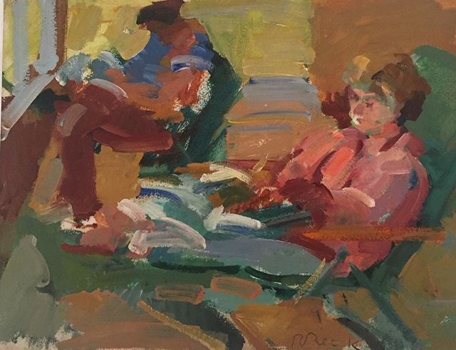 """A collector and friend of Beck's recently bequeathed a selection of work to the foundation. The family had a home in Martha's Vineyard and Beck would often paint them reading, on the beach or sitting in their garden. We are grateful to the family's care and generosity! 📷 Rosemarie Beck, """"Study: Nina Reading,"""" oil on paper, 9x12 inches, 1970s. © The Rosemarie Beck Foundation #rosemariebeck #newyorkschool #figure #painting #marthasvineyard"""