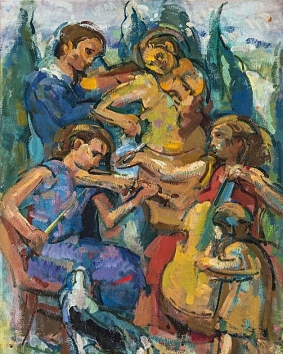 """Rosemarie Beck, """"Concert in Tuscany,"""" 1997, oil on linen, 34x26 inches. ©️The Rosemarie Beck Foundation #rosemariebeck #figurative #painting #concert #tuscany"""