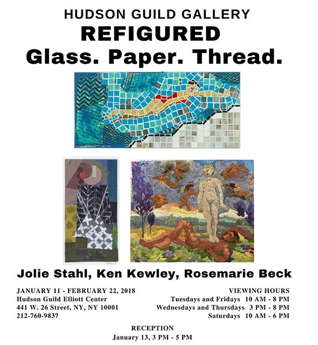 """A selection of Beck's embroideries will be on view as part of """"Refigured: Glass, Paper, Thread"""" at The Hudson Guild Gallery / January 11-February 22, 2018 / Reception on Saturday, January 13 3-5pm. 441 w. 26th Street, NY, NY, 10001. #rosemariebeck #embroidery #contemporaryart #threadwork #nyc"""