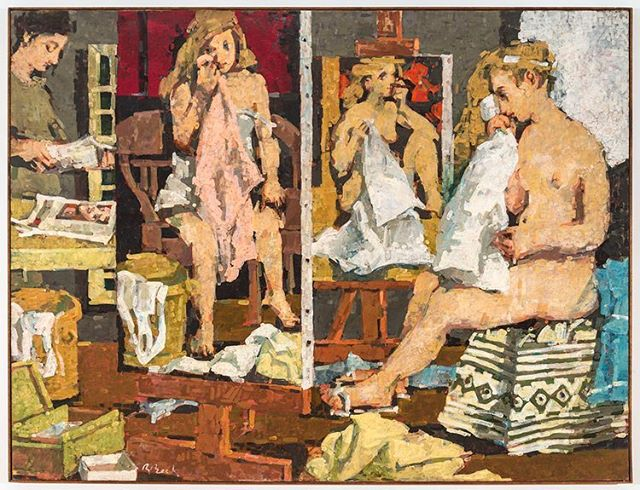 """In honor of International Women's Day is Beck's """"Studio with Magdalen,"""" a celebration of femininity, art and the creative life. 1964, oil on linen, 52x70 inches #rosemariebeck #internationalwomensday #painting #women #studio"""