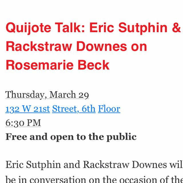 On Thursday, March 29 at School of Visual Arts @degreecritical Eric Sutphin and Rackstraw Downes will be in conversation on the occasion of the publication of Rosemarie Beck: Letters to a Young Painter and Other Writings (Soberscove Press, Chicago).(swipe right for more info) #rosemariebeck #rackstrawdownes #ericsutphin