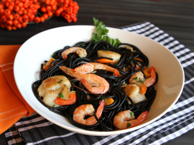 Squid Ink Pasta - with Shrimp and Scallops