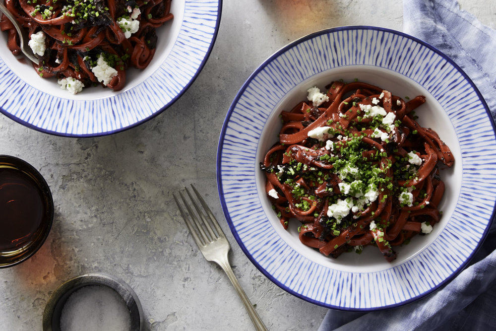 Beet Pasta - with Swiss Chard and Walnuts
