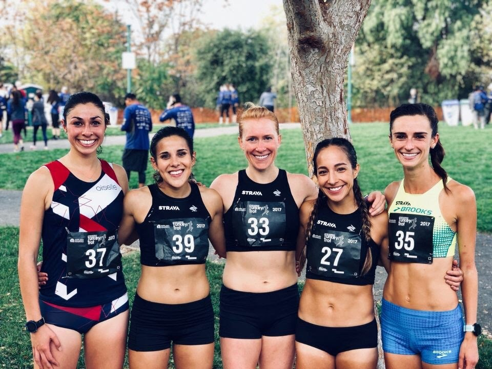 the Strava Track Club ladies kicked off Thanksgiving together at the Silicon Valley Turkey Trot!  I was the last place person for the team - YEAH!!