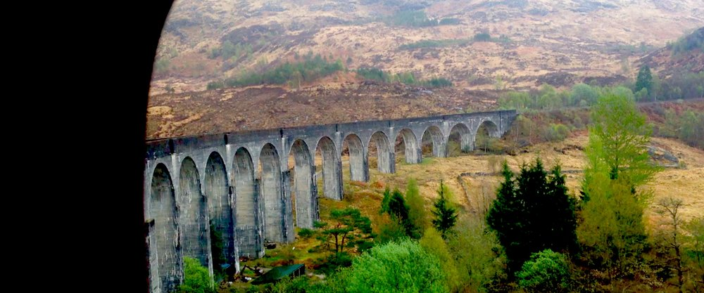 Glenfinnan viaduct taken from the Jacobite Express carriage window