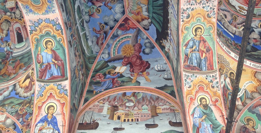 Detail of angels on the outside wall of the church at Rila Monastery, Bulgaria