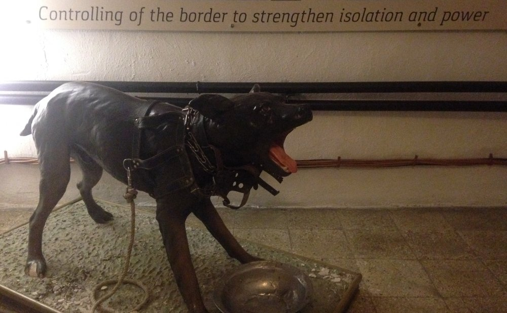 "The dog exhibit in BUNK'ART2 - ""controlling of the border to strengthen isolation and power."""