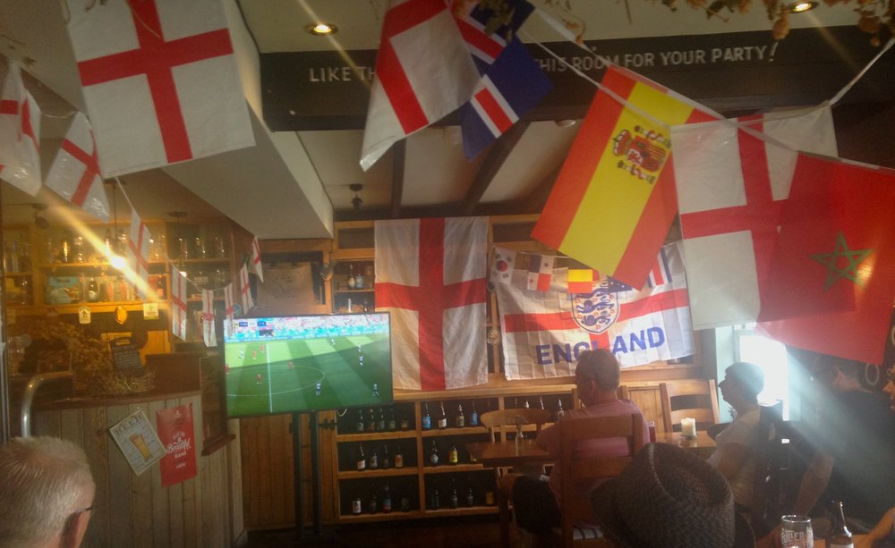 Watching the England Vs Panama game in a New Forest pub, England.