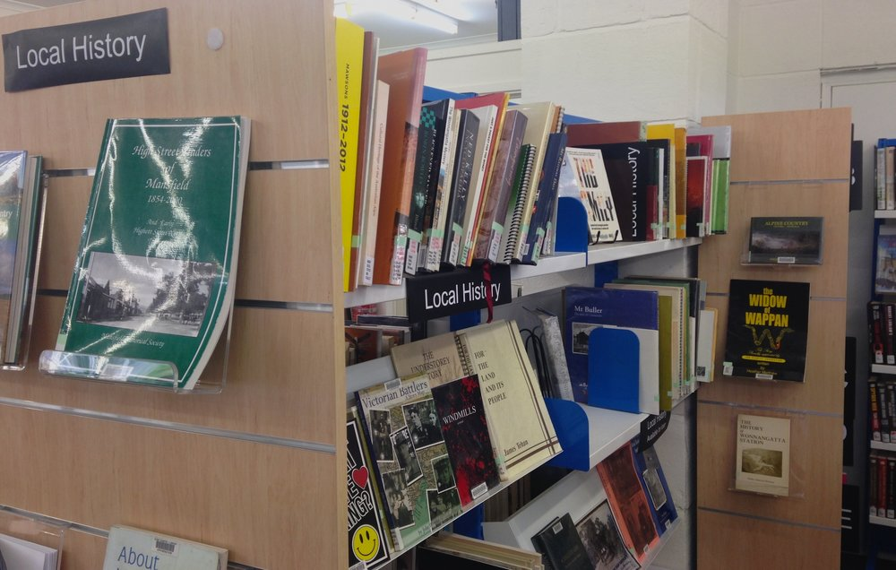 My small book,  The Widow of Wappan , displayed on the local history shelves, Mansfield Library.