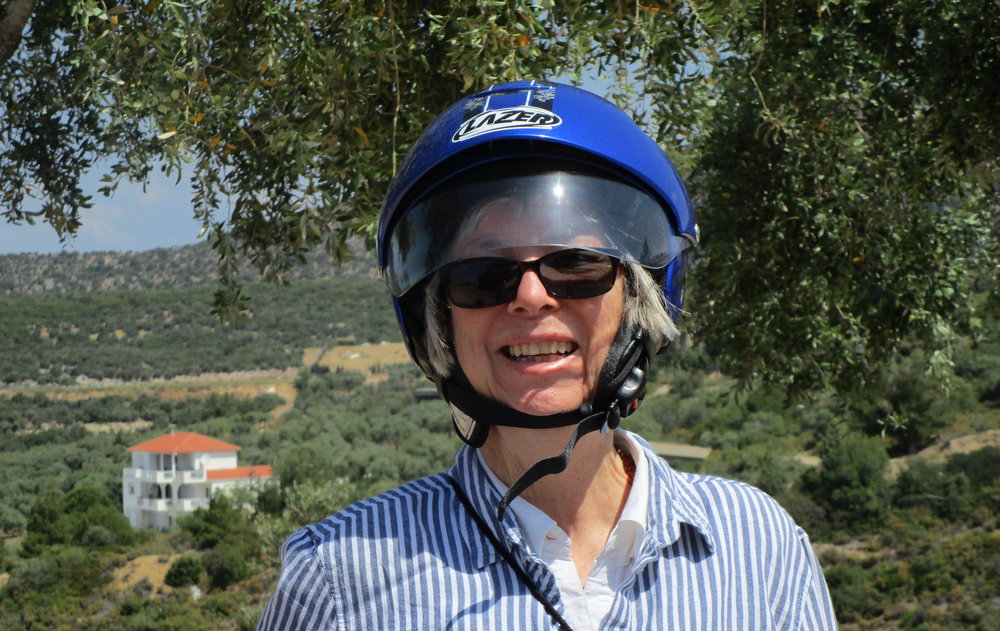 Happy in Greece! Stopping on the roadside with our hire scooter, Island of Thassos, Greece, May 2018.